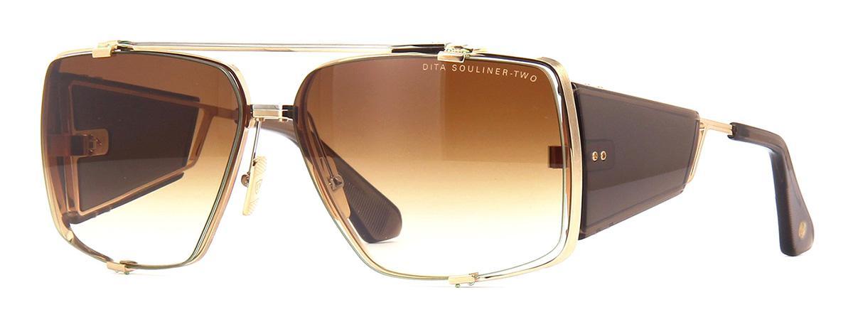 Купить Солнцезащитные очки Dita Souliner Two DTS 136-64-02 White Gold-Black Palladium-Dark Brown Crystal w/Dark Brown to Clear