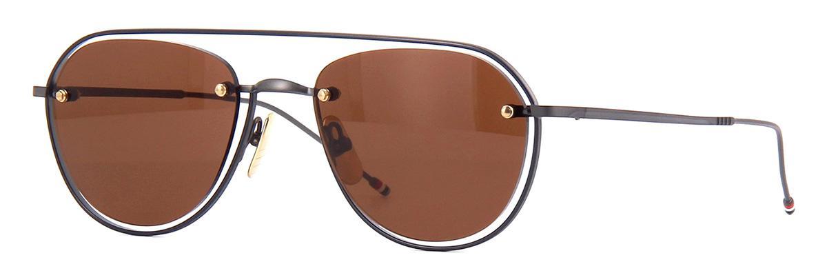 Купить Солнцезащитные очки Thom Browne TBS 112-52-03 Black Iron-Navy Enamel-White Gold w/Dark Brown-AR