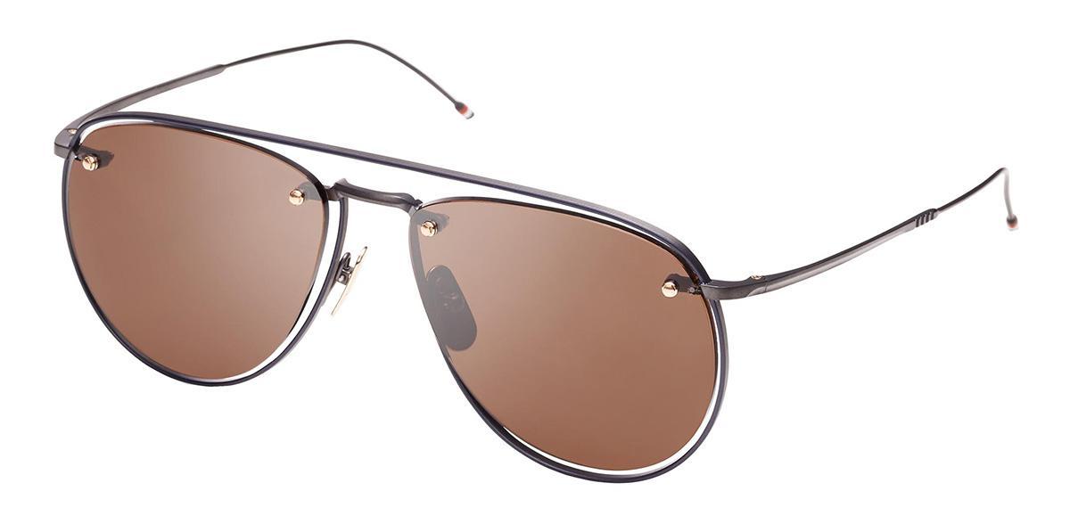 Купить Солнцезащитные очки Thom Browne TBS 113-59-03 Black Iron-Navy Enamel-White Gold w/Dark Brown-AR