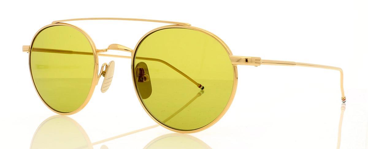 Купить Солнцезащитные очки Thom Browne TB 101-B-T-GLD 49 Shiny 12K Gold w/Dirty Yellow-AR