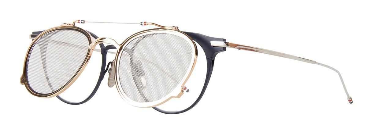 Купить Солнцезащитные очки Thom Browne TBS 814-49-03 Matte Navy-White Gold-Silver w/Silver Mesh