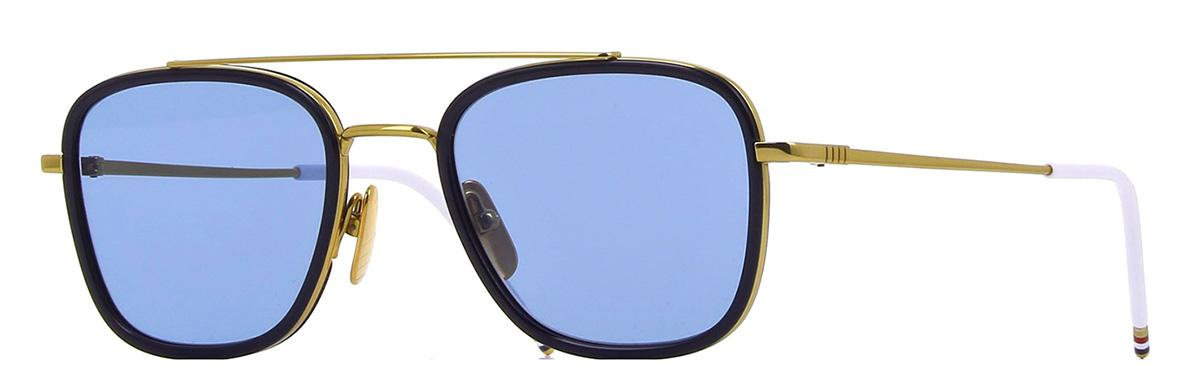 Купить Солнцезащитные очки Thom Browne TB 800-B-GLD-NVY 51 Shiny 18K Gold-Navy w/Dark Blue-AR