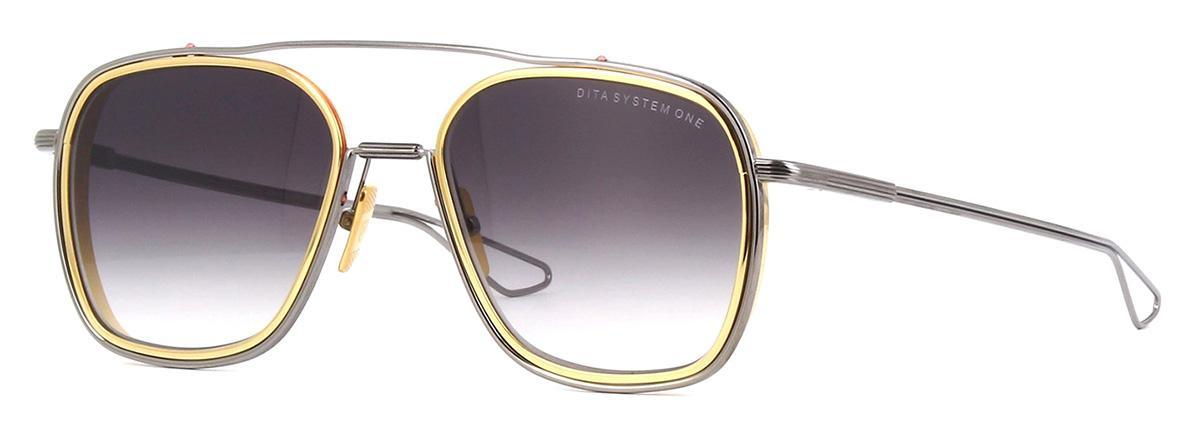 Купить Солнцезащитные очки Dita System One DTS 103-53-01 Black Palladium-Yellow Gold Lens rims Dark Grey to Clear-AR