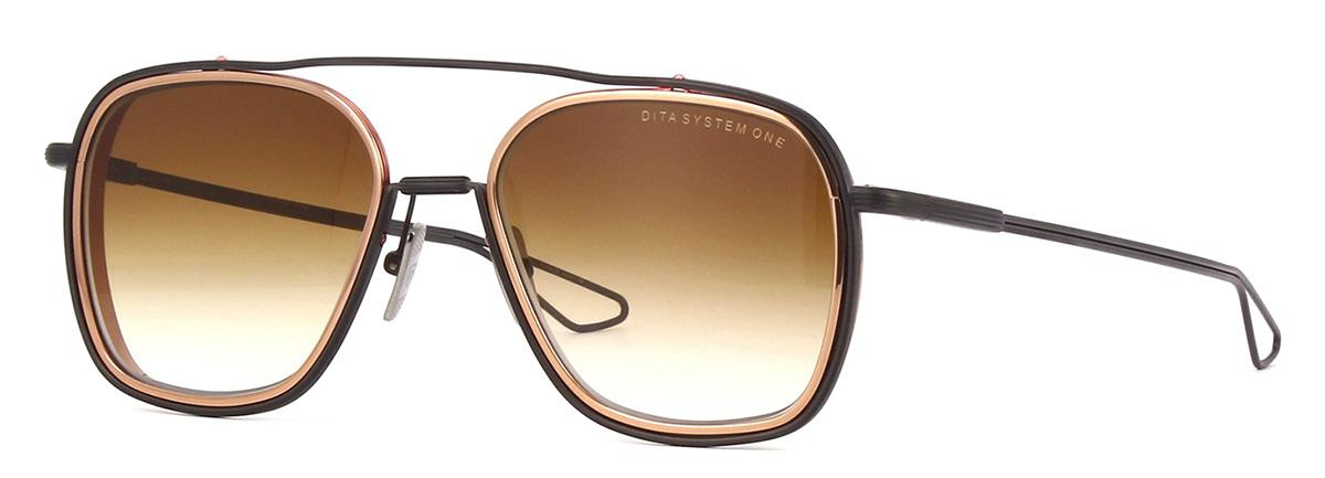 Купить Солнцезащитные очки Dita System One DTS 103-53-03 Black Iron-Rose Gold Lens rims Dark Brown to Clear-AR
