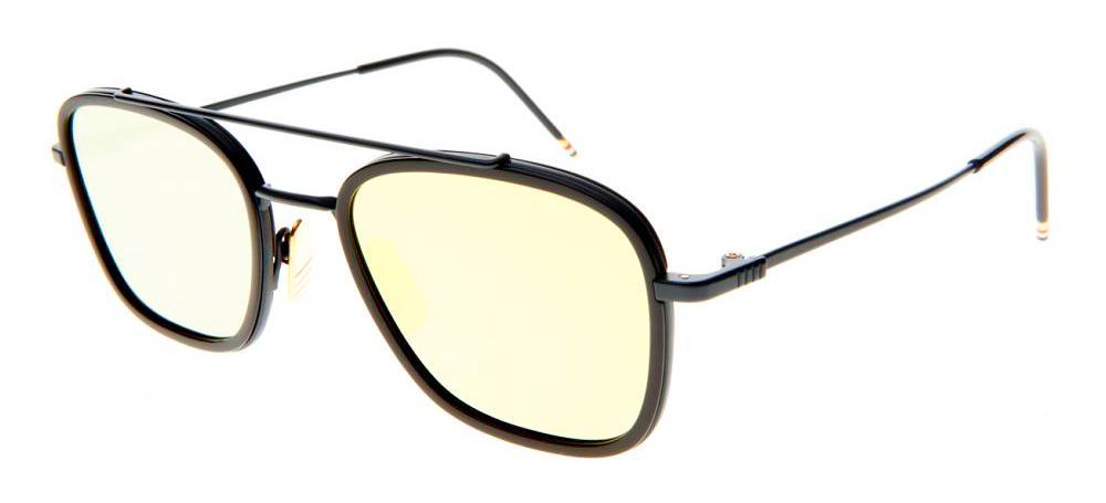 Купить Солнцезащитные очки Thom Browne TB 800-E-NVY 51 Matte Navy-Navy w/Dark Brown-Gold Mirror-AR