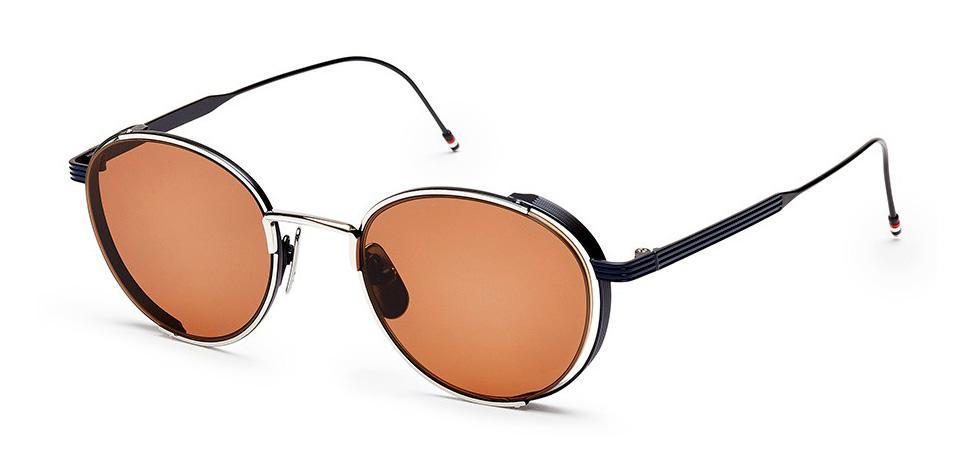 Купить Солнцезащитные очки Thom Browne TB 106-E-SLV-NVY 50 Silver-Navy w/Dark Brown-AR