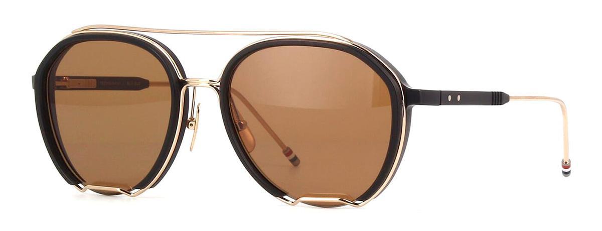 Купить Солнцезащитные очки Thom Browne TBS 810-56-01 Black-White Gold w/Dark Brown-AR